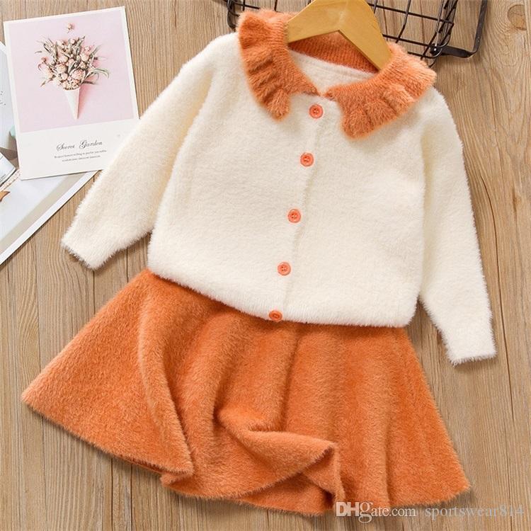 Neonate partito Cotone Maglione abiti da principessa Knit 2 piece L'inverno Fuzzy rivestimento del bambino del bambino insiemi Skirt