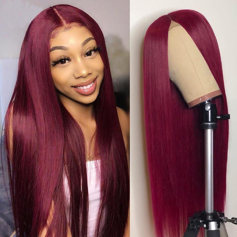 Glueless longue ligne droite 99J 13x4 cheveux humains avant de dentelle perruque pré plumé avec bébé cheveux rouge Couleur du Brésil Remy Hair