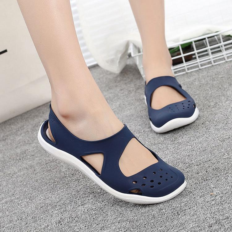 Women's 2019 Fashion Lady Summer Women Casual Jelly Shoes Hollow Out Mesh Flats Beach Sandals Y200405