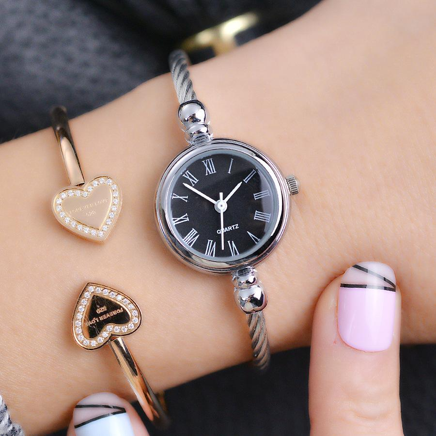 Sencillo Relojes de Mujer de Plata Elegante Pulsera Pequeña Reloj Femenino 2018 Bgg Marca de Moda Romana Dial Retro Señoras Relojes de Regalo T190619