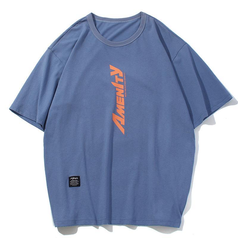 Cotton T-shirt short sleeve new round neck printed loose T-shirt designer T-Shirt Blue, orange, white m-xxl
