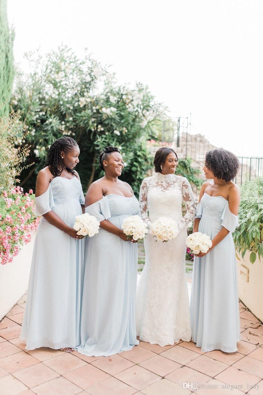 Robes de demoiselle d'honneur de pays bleu poussiéreux avec la taille plus 2019 outre l'épaule volants plis africain plage robe de soirée invité de mariage