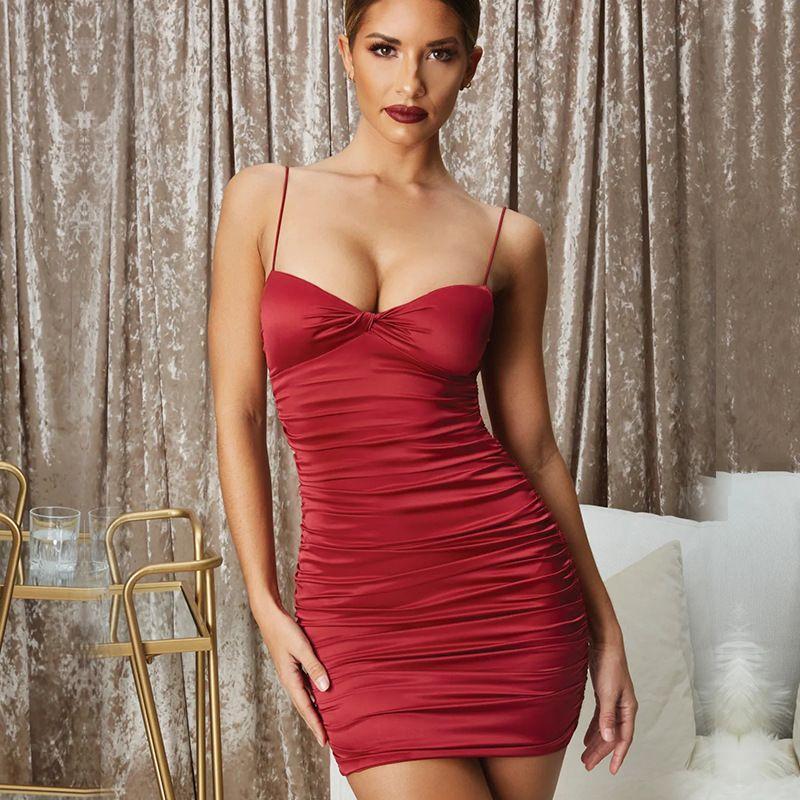 Nova Noite Elegante Sexy Spaghetti Strap Deslizamento De Cetim De Seda Vestido Vermelho / Branco Mini Vestido de Noite Vestidos de Festa de Mulher