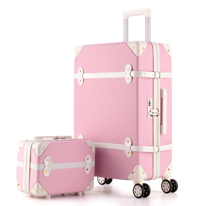 KAWEIDA Retro Pink Pu Leather Suitcase Women Trunk Vintage Luggages Rolling Luggage for Girls