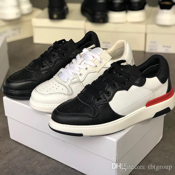 2020 الرجال الفاخرة WING جلدية منخفضة أعلى أحذية مصمم أحذية الرجال السود أبيض ريال جلد المدربين أعلى جودة خمر حذاء رياضة مع صندوق