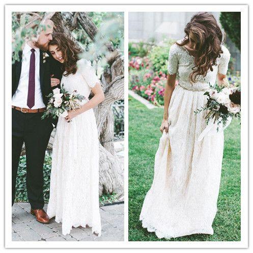 Discount New Cheap Short Sleeves Modest Wedding Dresses Vintage