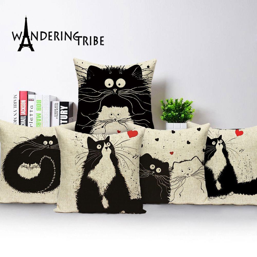 Il nuovo disegno Federe Arte Moderna di animali Black Cat cuscini per sedie copertina personalizzata in lino Home Decor Divano colori cuscino di tiro