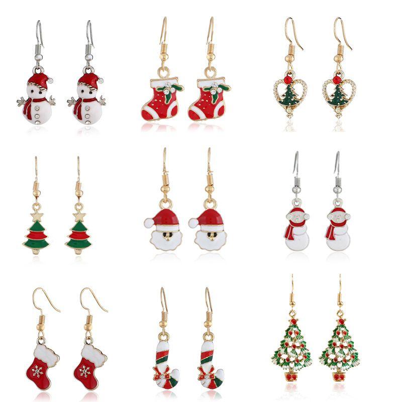 Natal Papai Noel Brinco Pingente Decoração de Natal para Casa Feliz Ano Novo Presente de Natal Ornamentos Navidad