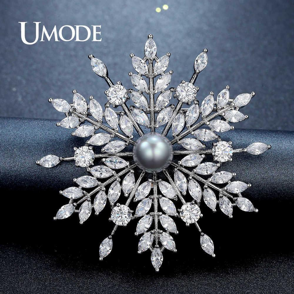 Umode New Pearl Brooch Jewelry For Women Large Rhinestone Crystal Flower Brooches And Pin Wedding Smowflake Collar Brooch Ux0007 J 190513