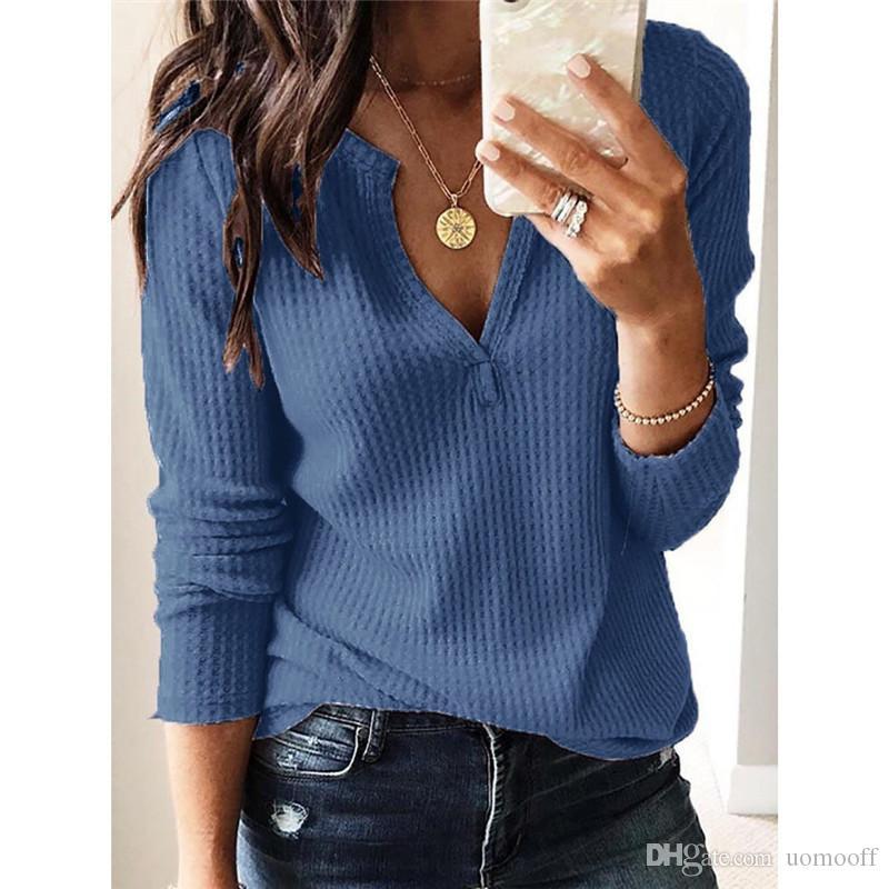 Solid V шеи длинным рукавом Повседневная футболка Летняя мода Сыпучие женщин топы дизайнер женской одежды