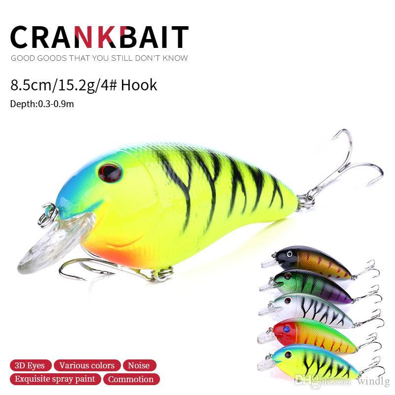 Leurres de pêche (CB022) 8.5cm 15.2G # 4 Crochet Areble Profondeur de natation 0.3-0.9m Crochet de Cranhankbait 25pcs