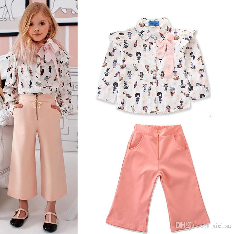 Girls Clothes Sets Floral wide-leg trousers Toddler Girl Clothes Children Summer Tops+Solid Overall Pants Costume For Kids Outfits Suit