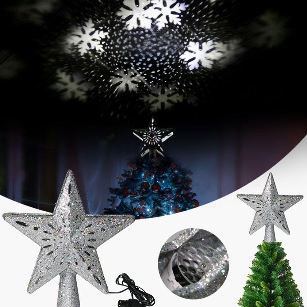 Boda del copo de nieve LED nueva estrella de la Navidad decoración del árbol de la luz giratoria dinámica de luz del proyector de Navidad la decoración Las Topper Adornos