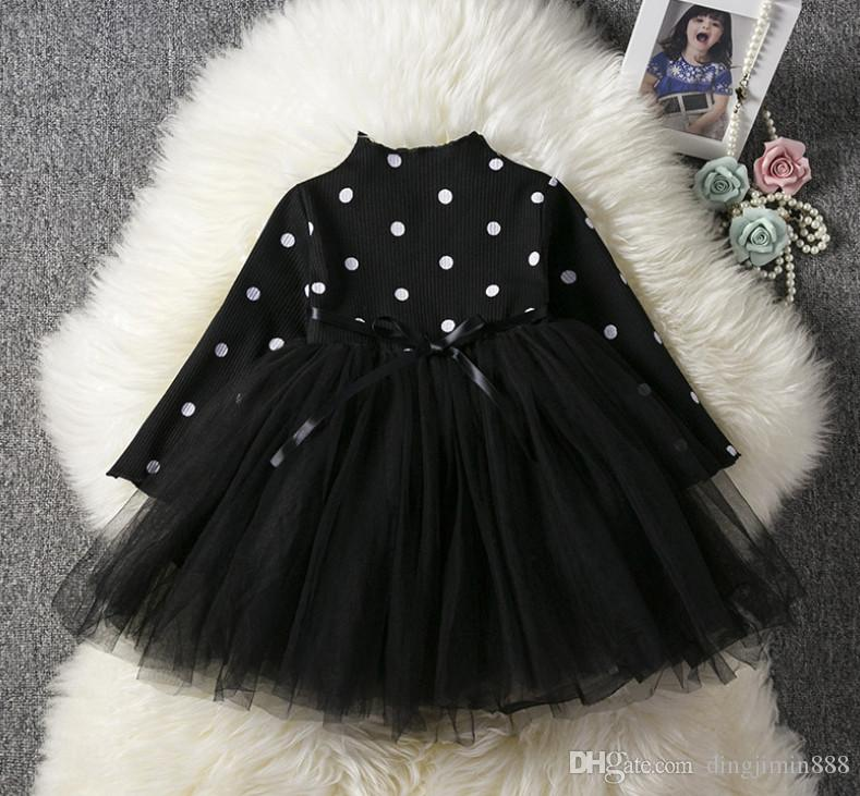 Baby Girl Kids Dresses For Girls Long Sleeve Polka Dot Children Autumn Winter Clothing Costume Casual Kids School Clothes