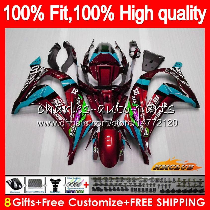 Injection For KAWASAKI ZX 10 R ZX1000 C ZX10R 11 12 13 14 15 46HC.29 ZX 10R 1000CC wine red hot ZX-10R 2011 2012 2013 2014 2015 OEM Fairing