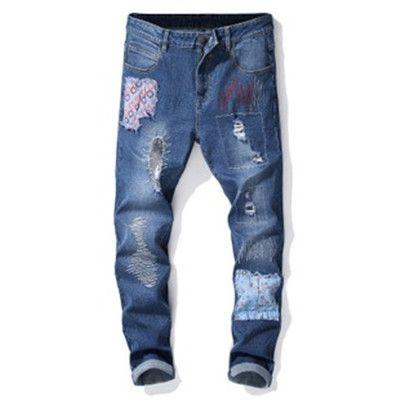 Модные винтажные мужские рваные джинсы брюки slim fit хип-хоп джинсовые прохладные мужчины новинка уличная джинсовые брюки горячая распродажа