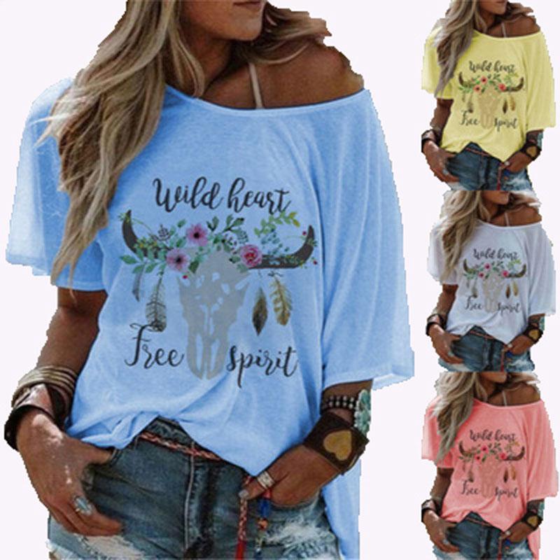 Las vacas de la moda mujeres de la impresión de la camiseta redonda del collar corto ocasional de la manga vestir de las tapas