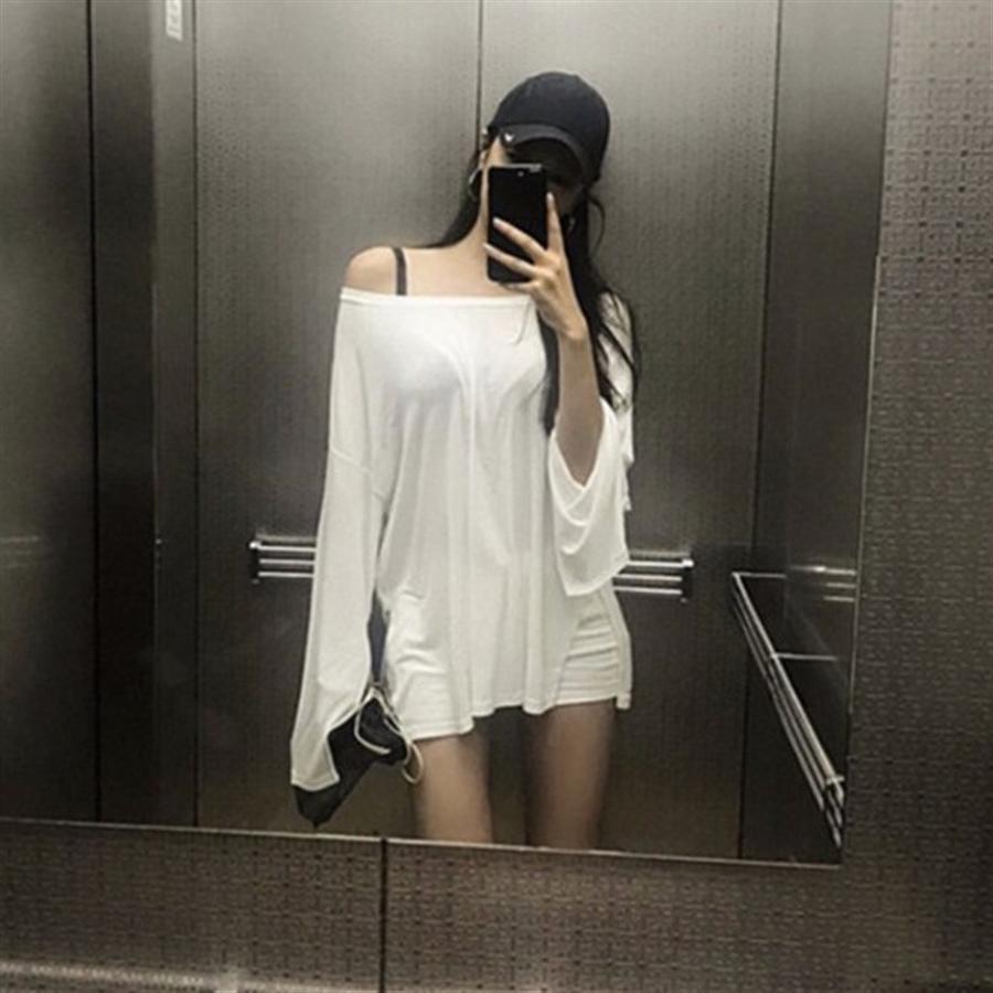 Doğu kapısı omuz maruz güneşten koruyucu pamuk ince uzun kollu gömlek gevşek düzensiz tişört kadın güneşten