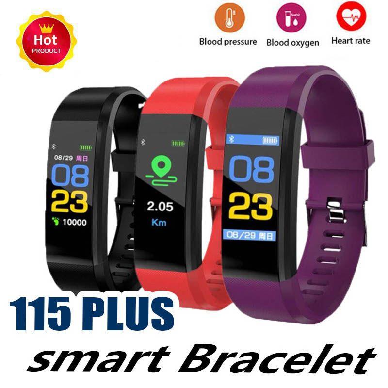 ID115 Plus Smart Sport Bracciale Fitness Tracker Smart Watch Cinturino frequenza cardiaca Cinturino intelligente Polsino per telefoni cellulari Apple Android con scatola