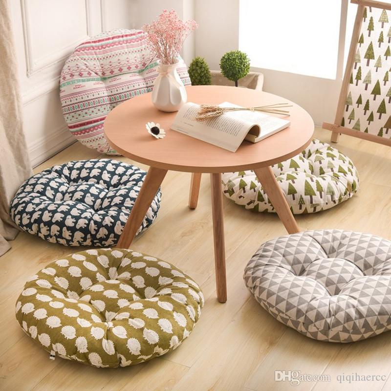 Cuscino di seduta a forma rotonda Cuscino per divano in tatami di cotone con nucleo in cotone di seta e poliestere Cuscino per divano morbido per auto