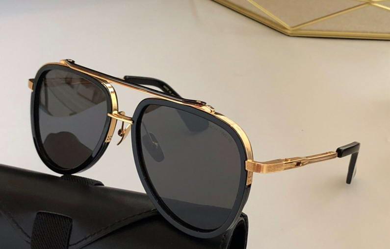 Schattierter Pilot neuer schwarzer Sonnenrahmen mit Gläsern Sonnenbrille schwarz gold Sonnenbrille Brillenglas Männer Box Xqibp