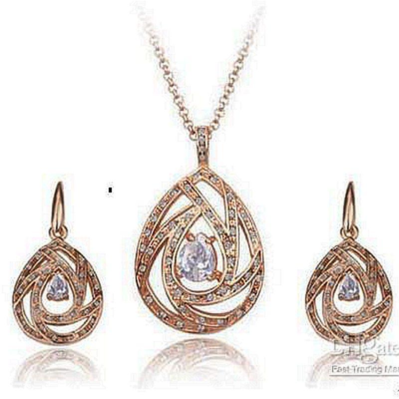 Rose Gold Plated Clear Cz Rhinestone Crystal och Zirconia Heart Drop Shape Halsband och Örhängen Halsband Set