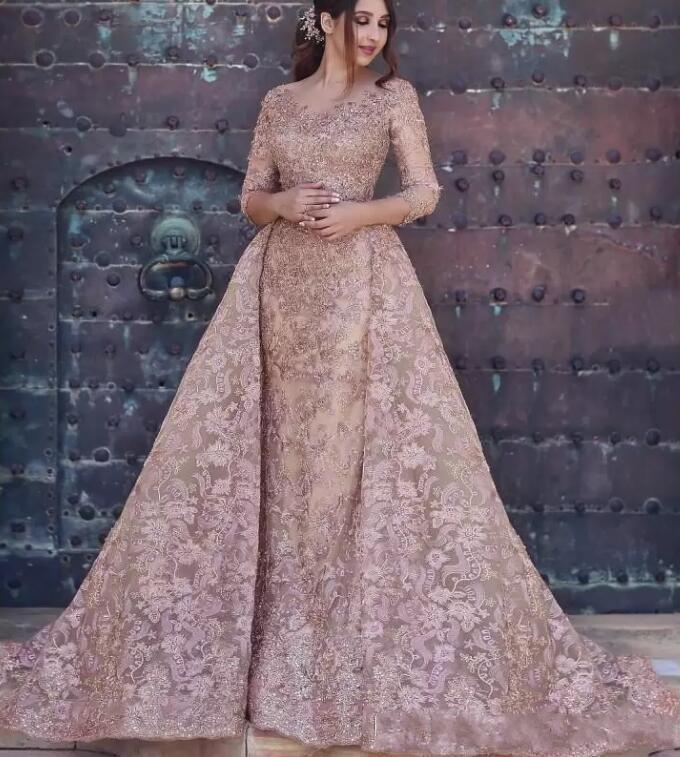 Yeni Geliş Kadın Tam Dantel Aplikler 3/4 Uzun Kollu ile Overskirts için Modern Dubai Arapça Abiye Örgün Hüsniye Moda Parti Abiye