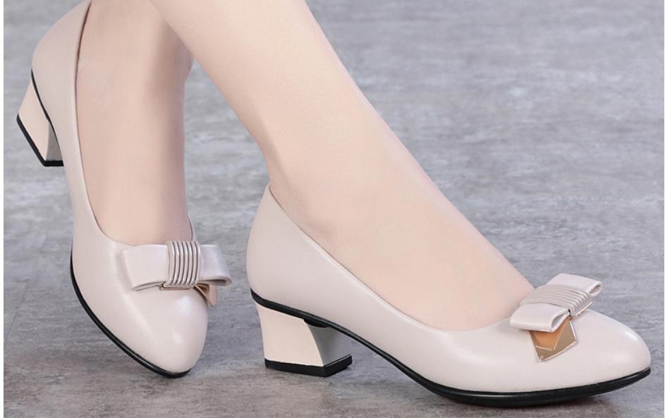 2019 Женской обувь весной и осенью с Новым стилем Среднего каблук Грубых пяток вокруг голова бант @ FFF2069