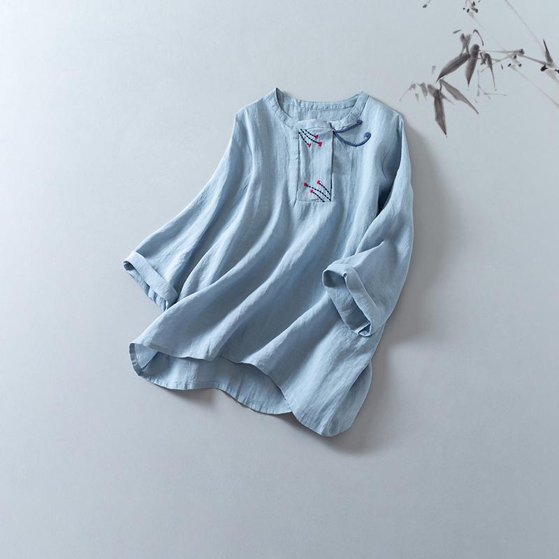 CHKEMoxia primeiro coração temporada de 2020 camisa bordada chinesa qualidade elegante top algodão e linho roupas
