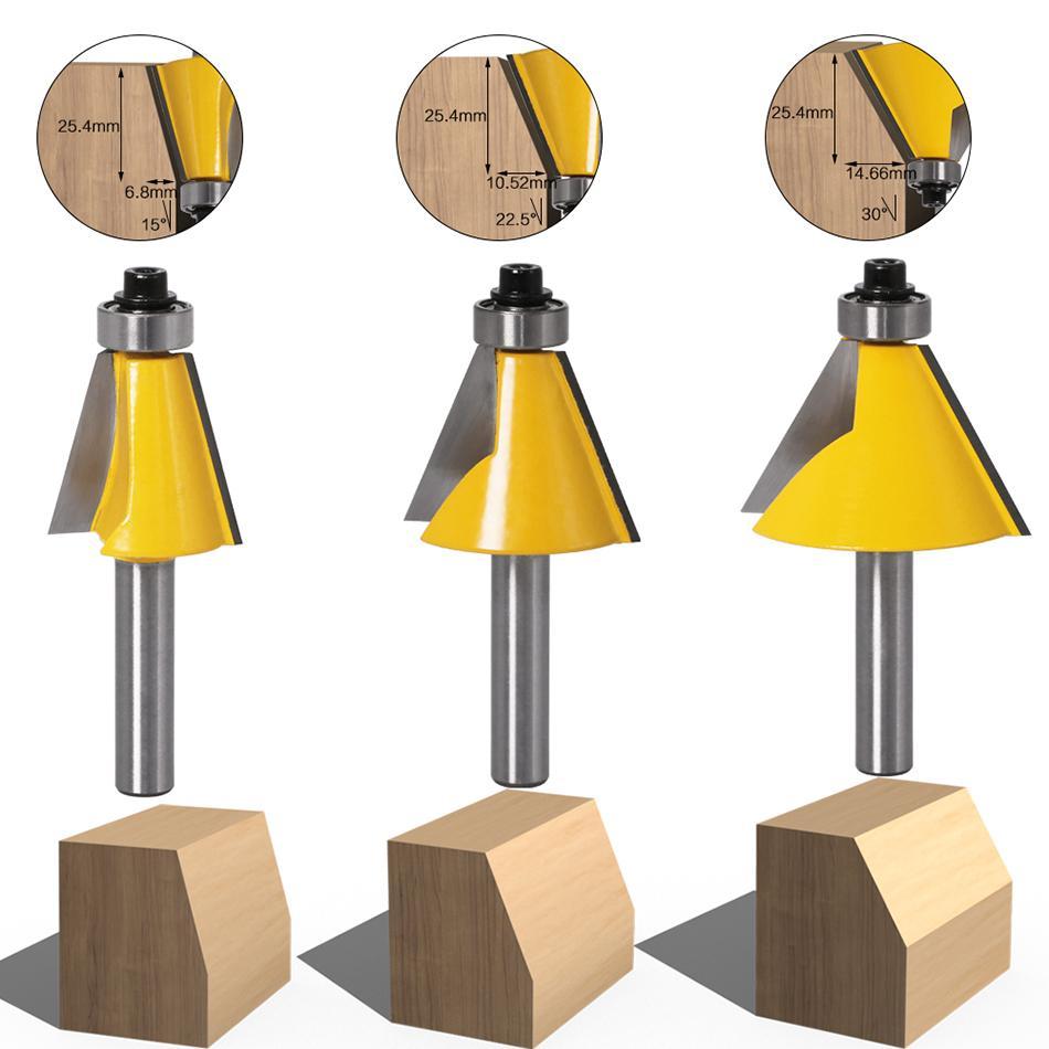 8MM Shank chanfreiner de 15 22,5 30 degrés Fraise pour bois de machines à bois Outils électriques