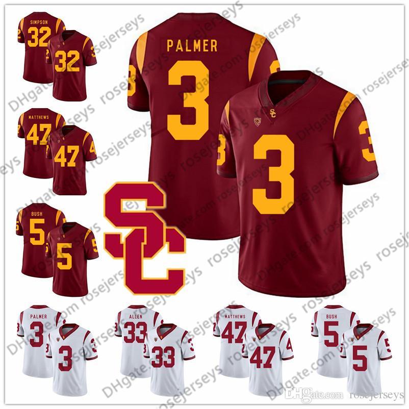 USC Trojans #3 Carson Palmer 21 Su'a Cravens 22 Lynn Swann 33 Marcus Allen 47 Clay Matthews Red White Retired Vintage Football Jersey