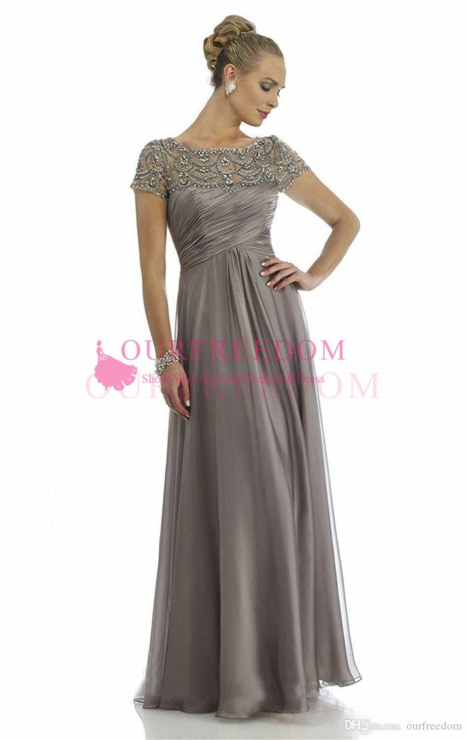 2019 Gray Crystal Mother Of Groom Bride Dresses Short Sleeve Floor Length Formal Occasion Evening Mother Dresses Custom Made