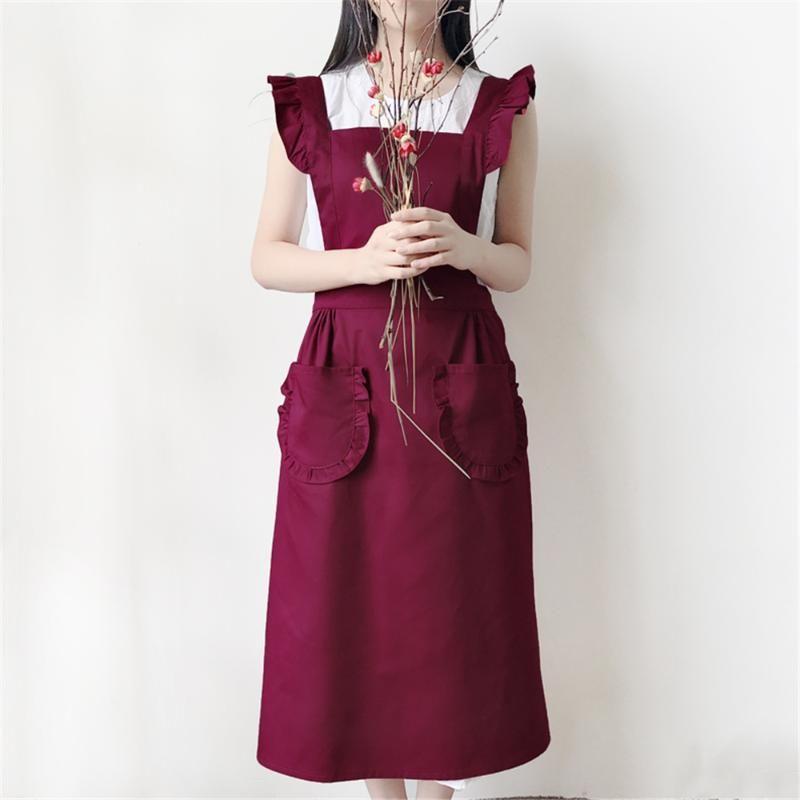 홈 턱받이 청소 앞치마 앞치마 꽃 하우스 스튜디오 앞치마 한국 스타일 공주면 앞치마 여성 부엌은 사용자 정의 할 수 있습니다