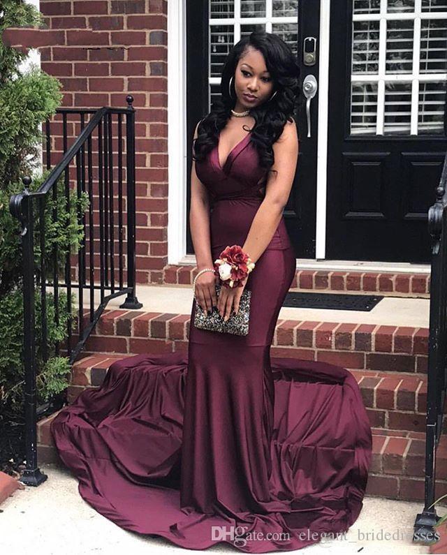 Mermaid Prom Dress Women V Neck Sleeveless Criss Cross Straps Back Sexy Party Gowns Long Burgundy Prom 2019 Graduation Dresses
