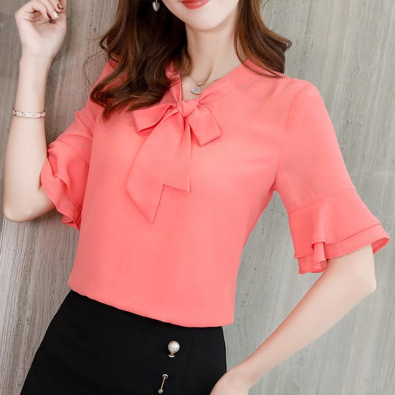 Donna Camicie Papillon Collo chiffon di estate della camicetta increspa manica Ufficio lavoro femminile 2019 Elegante Rosa Bianco Tops Blusa