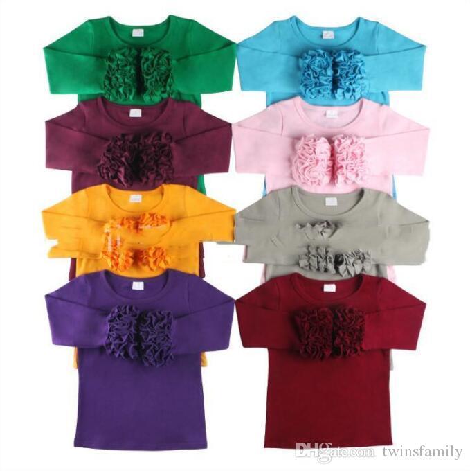 Los niños del diseñador ropa de niñas de la colmena de las camisetas de manga larga sólido remata la camisa de algodón elástico de manga larga otoño Tees O Cuello blusa ocasional C6606