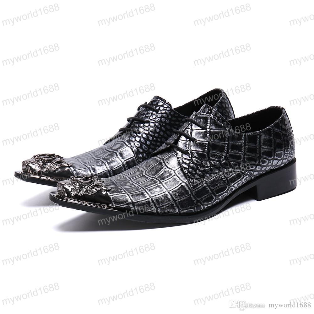 Бизнес змеиной кожи зашнуровать мужская обувь острым носом мода вечерние туфли ночной клуб натуральная кожа мужская обувь