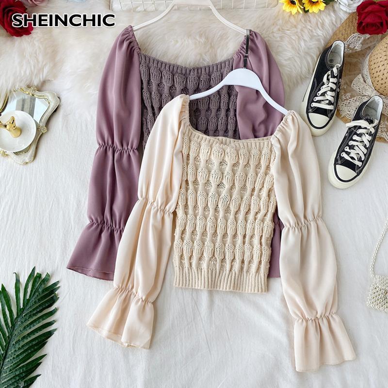 Outono Inverno 2019 coreano Moda Mulheres Blusa elegante de Slash Pescoço Bege / preto / roxo Blusa rosa Retalhos camisola de malha Shirts
