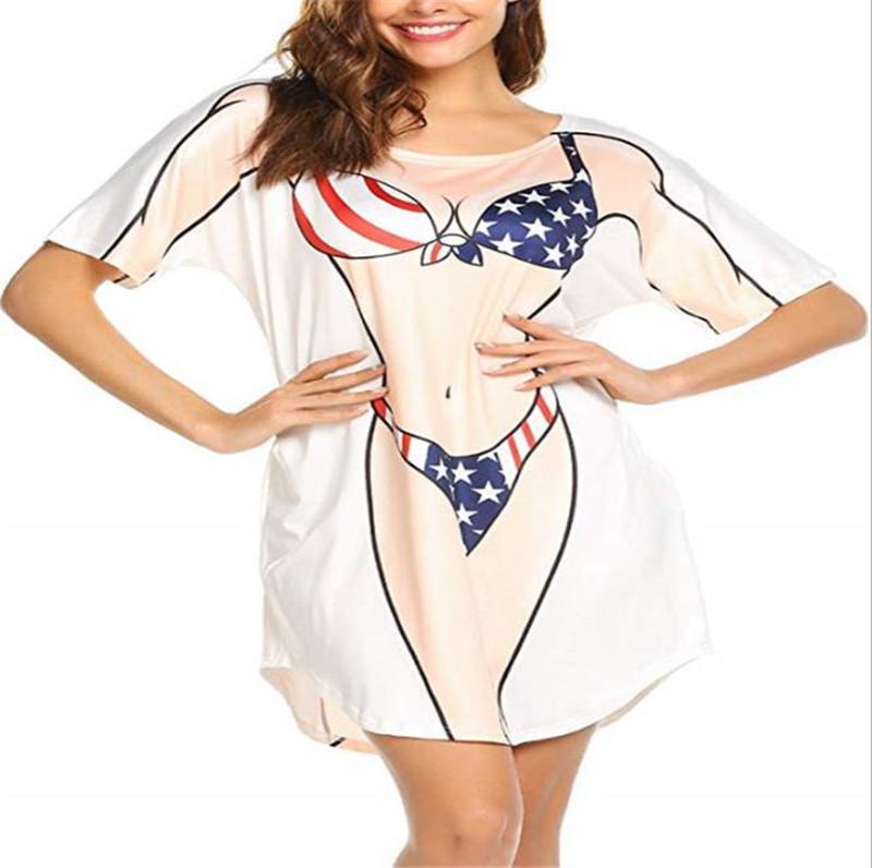 Frauen-Bikini-Rauch-Kleid Sexy Druck-Kurzschluss-Hülsen-Rundhalsausschnitt Kleider beiläufiges Sommer Relaxed T-Shirt-Kleid