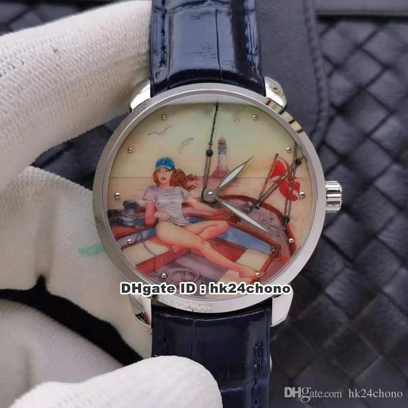 10 Estilo Mejor relojes Clásico Fabricación ETA2892 28800VPH Autoamtic del reloj para hombre 3203-136LE-2 / MANARA.02 correa de cuero de los señores de pulsera U1B