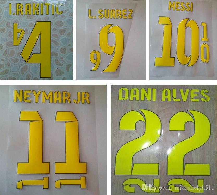 2014 2015 Bar celona home yellow printing soccer nameset NEYMAR JR MESSI SUAREZ player's stamping plastic stickers impressed football font