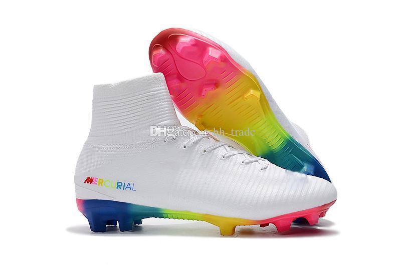 color rápido despeje mejor precio Compre 2019 White Red Rainbow Zapatos De Fútbol 100% Originales Mercurial  Superfly V FG Botines De Fútbol Botas De Fútbol De Tobillo Altas Zapatillas  ...
