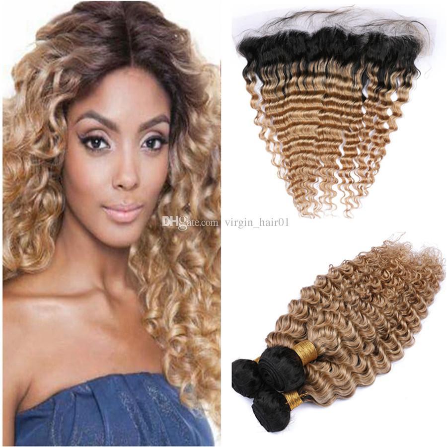 #1B/27 Honey Blonde Ombre Brazilian Human Hair Weaves Deep Wave with Frontal Closure 13x4 Deep Wavy 3Bundles Light Brown Ombre Virgin Hair