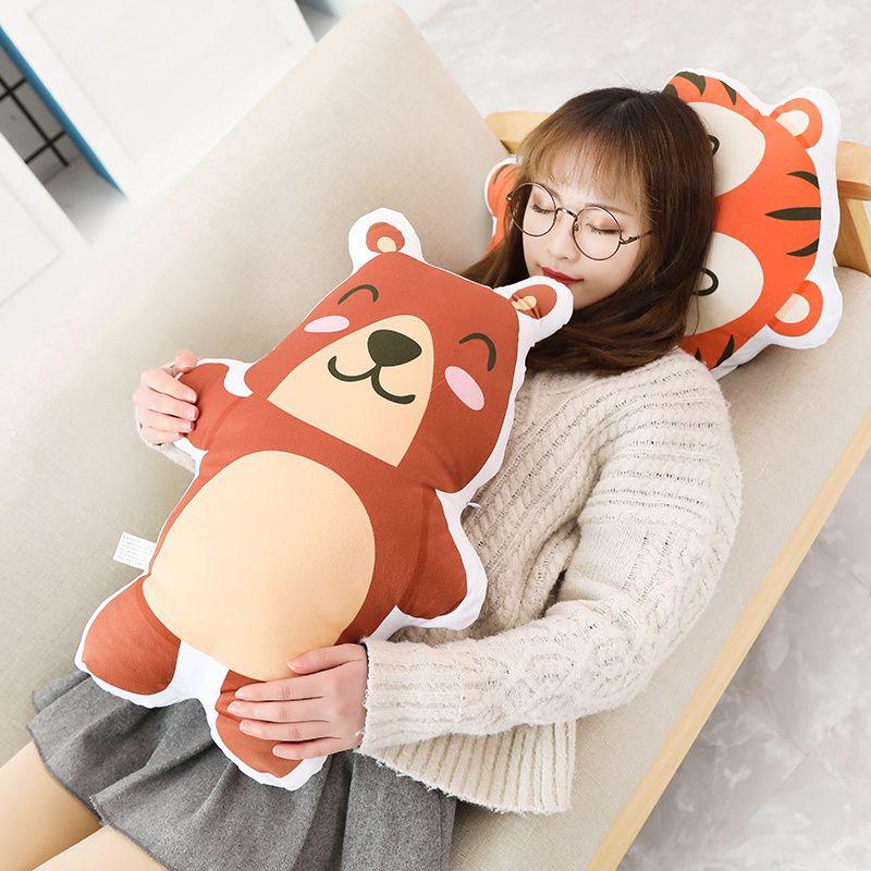 Printing Animal Shaped Pillows Plush Stuffed Cartoon Pillow Kids Throw Pillow Owl Rabbit Elephant Leo Tiger Bear Gift