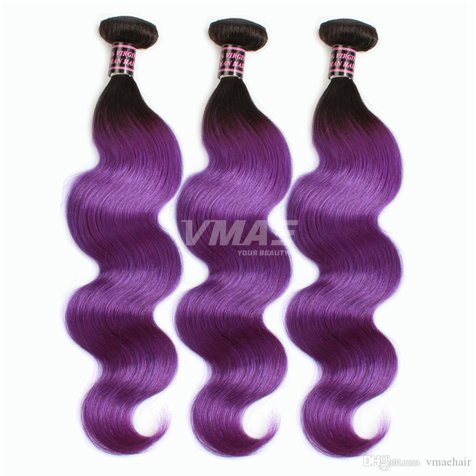 VMAE 1B Violeta brasileña del pelo Ombre dos tonos de color Virgen del pelo humano 3pcs onda del cuerpo Ombre pinzones extensiones de cabello humano