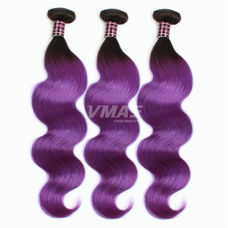 VMAE 1B Violet brésilien cheveux Ombre Bicolore Couleur Vierge du corps humain de cheveux vague Ombre Nches humaine Hair Extensions