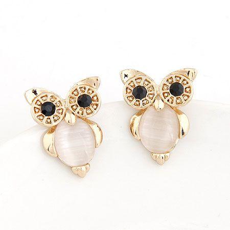 2020 Owl Design Femme Boucles d'oreilles Vintage Or Couleur Rose / Blanc Oeil de Chat Pierre Femmes Bijoux Boucles d'oreilles Bijoux fantaisie