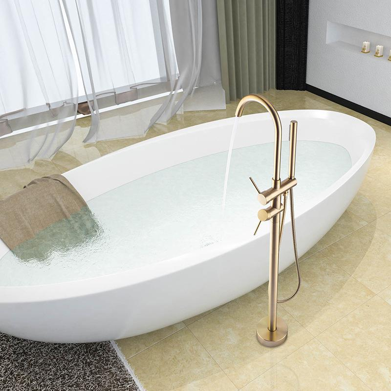 Brushed Gold Floor Stand Bathtub Faucet Black , Polished Gold ,Chrome Bathroom Faucet
