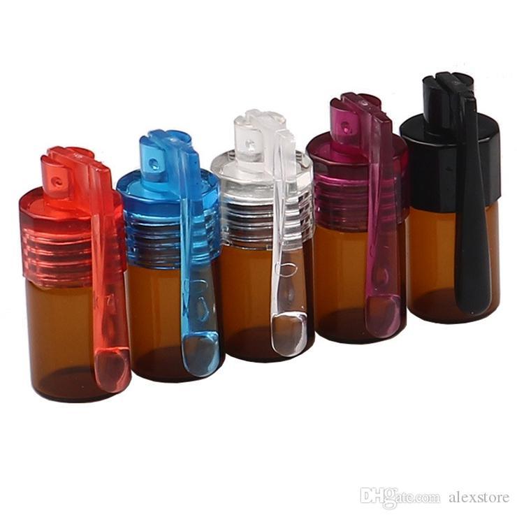 Snuff Pill Box Case Acrylic Plastic 31mm Bottle Snorter Dispenser Nasal Smoking Pipe Glass Bottle Case Storage Stash Jar Small Container