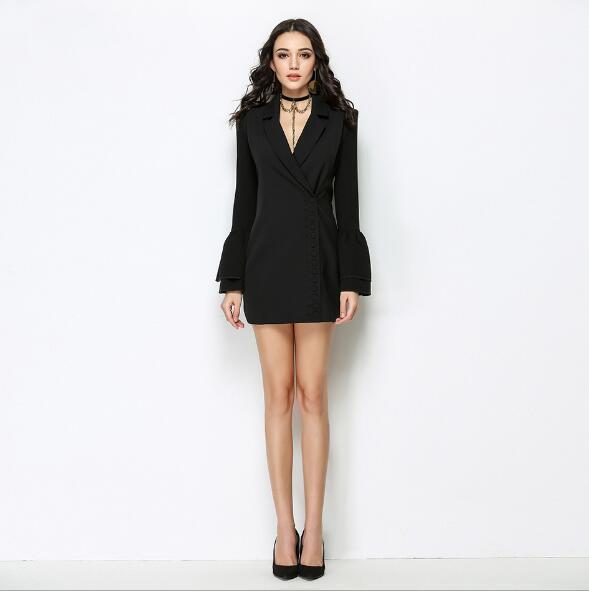 Весна и осень новое модное платье Рог рукав длинные сексуальные платья оптом